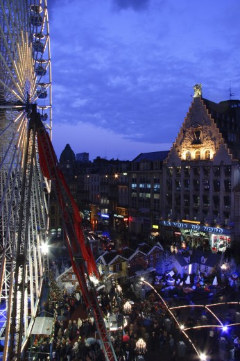 Stock Photo: 1885-9947 France, Nord pas de Calais, Lille, Ferris wheel and Grande-Place from above at night