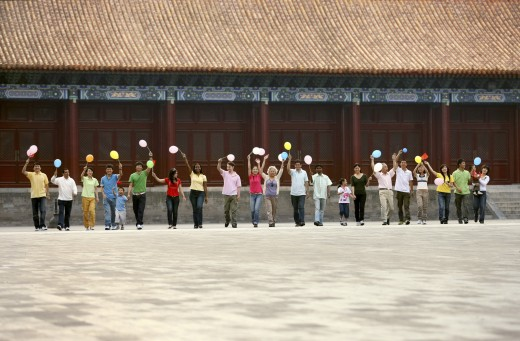 Stock Photo: 1886-11958 people from different countries being together in the Forbidden city,beijing,china
