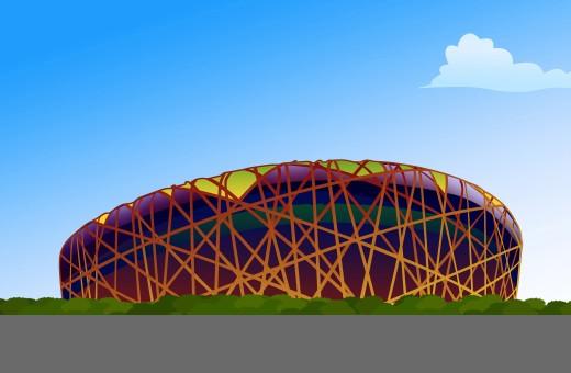 national stadium,composite illustration : Stock Photo