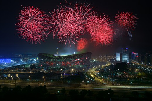Fireworks On Central Area Of Beijing Olympic Games,China : Stock Photo