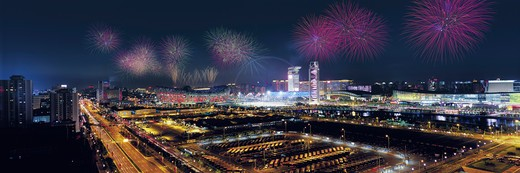 Stock Photo: 1886-22632 Fireworks On Central Area Of Beijing Olympic Games,China