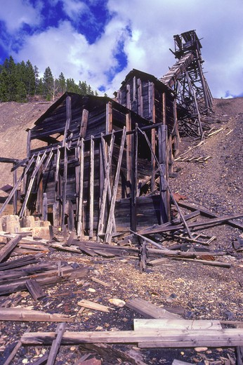 Old, abandoned silver mine, Neihart, Montana, USA. : Stock Photo