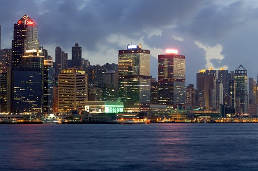 Stock Photo: 1886-4664 Symphony of lights on Hong Kong island From Kowloon at Hong Kong ; China