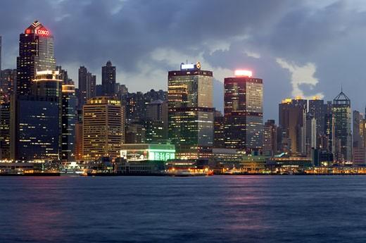 Symphony of lights on Hong Kong island From Kowloon at Hong Kong ; China : Stock Photo