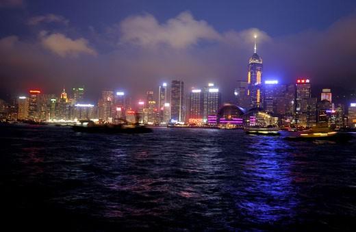 Stock Photo: 1886-4670 Symphony of lights on Hong Kong island From Kowloon at Hong Kong ; China