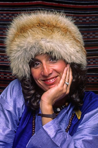 Woman wears a TIBETAN FOX FUR HAT - MAY 1986 (MR) : Stock Photo