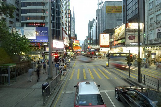 Stock Photo: 1886-47123 Glow signs in Chinese on Nathan road ; Kowloon ; Hong Kong ; China