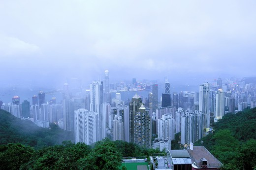 Sky Scrapers Towers  ; construction boom  ; concrete buildings at Hong Kong island  ; China : Stock Photo