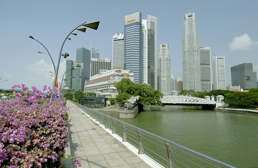 Sky Scrapers ; Raffles place ; towers ; construction boom ; concrete buildings at Singapore ; South East Asia : Stock Photo