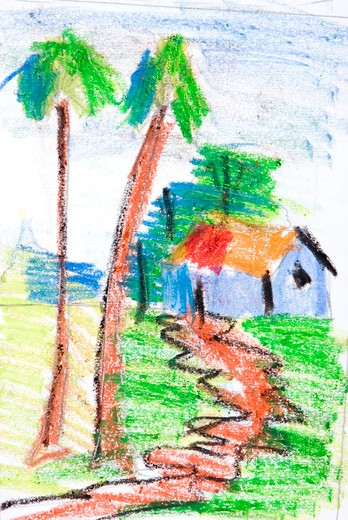 Stock Photo: 1886-47929 Crayon on white paper ; painting done by Dhruv Karve eight year old boy ; Bombay Mumbai ; Maharashtra ; India