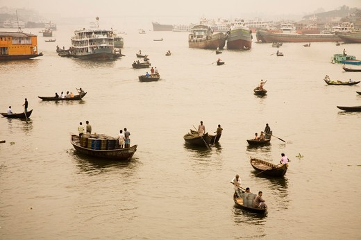 Stock Photo: 1886-48809 Cruise boats and steamer in Burigunga Buri Gunga River ; Sadarghat Boat terminal ; Dhaka ; Bangladesh