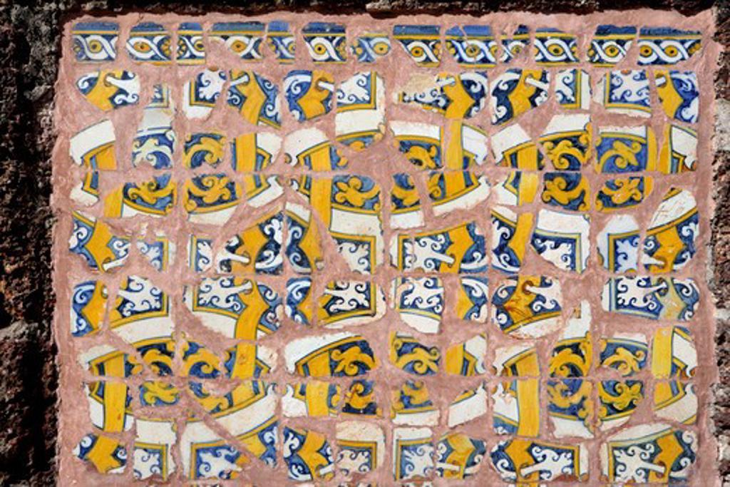 Stock Photo: 1886-49148 Azulejos type of tinglazed ;  Ceramic tiles used in the church of St. Augustine ; Portuguese architecture ; Ornamental art ; Unesco world heritage site ; Old Goa ; Velha Goa ; India