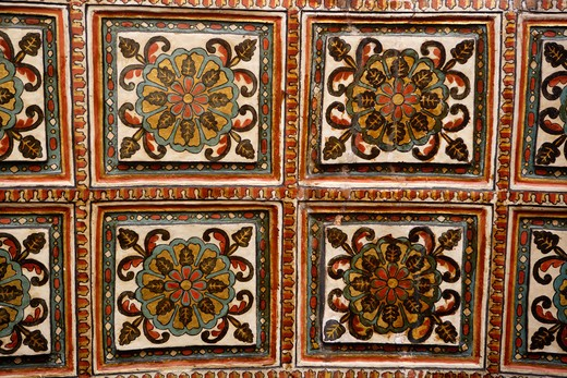 Decorative Medallions Fresco Details; Church Of St. Francis Of Assisi ; Built In 1521 A.D.; UNESCO World Heritage Site ; Old Goa ; Velha Goa ; India : Stock Photo