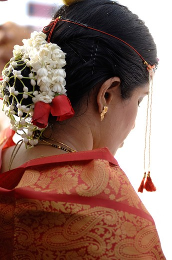 Backview of South Asian Hindu bride in wedding ceremony ; Bombay Mumbai ; Maharashtra; India MR#705P : Stock Photo