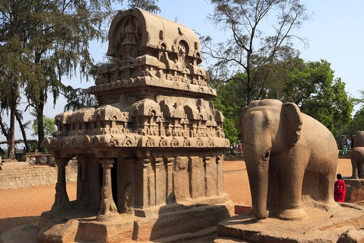 Stock Photo: 1886-49971 Nakul Sahadeva Ratha and Elephant statues and Pancha Rathas carved during the reign of King Mamalla (Narasimhavarman I; c. 630 - 670) Monolith rock carving temples ; Mahabalipuram ; District Chengalpattu ; Tamil Nadu ; India UNESCO World Heritage Site