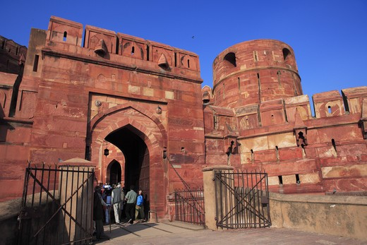 Stock Photo: 1886-49989 Entrance of Agra fort built in 16th century by Mughal emperor made by red sand stone on west bank of the Yamuna River ; Agra ; Uttar Pradesh ; India UNESCO World Heritage Site