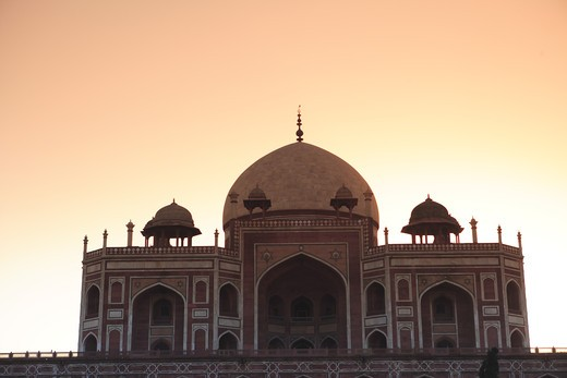 Stock Photo: 1886-50061 Sunrise at Humayun's tomb built in 1570 made from red sandstone and white marble first garden-tomb on the Indian subcontinent persian influence in mughal architecture ; Delhi ; India UNESCO World Heritage Site