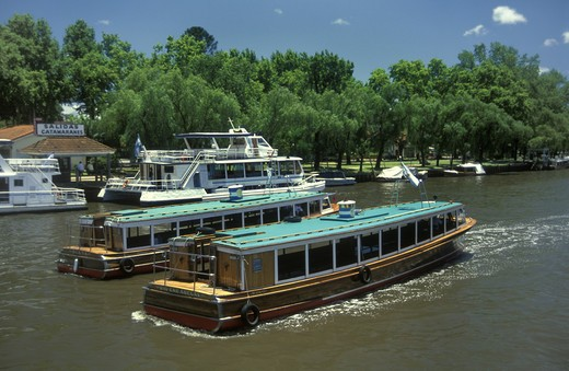 Stock Photo: 1886-50482 RIVER BOATS are used for transport in TIGRE a resort area in the DELTA DEL PARANA near BUENOS AIRES, ARGENTINA