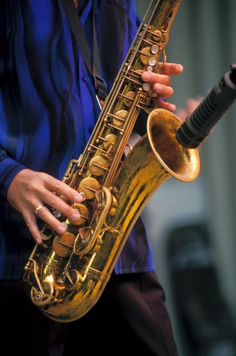 Stock Photo: 1886-50574 TERRY HANCK sings and plays the saxophone at the MONTEREY BAY BLUES FESTIVAL