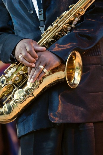 SAXOPHONE played by Julien Vaught with the J C SMITH BAND at the MONTEREY BAY BLUES FESTIVAL - MONTEREY, CALIFORNIA : Stock Photo