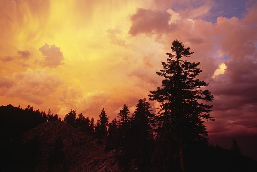 Stock Photo: 1886-50713 The sun sets in the MARBLE MOUNTAIN WILDERNESS - NORTHERN CALIFORNIA