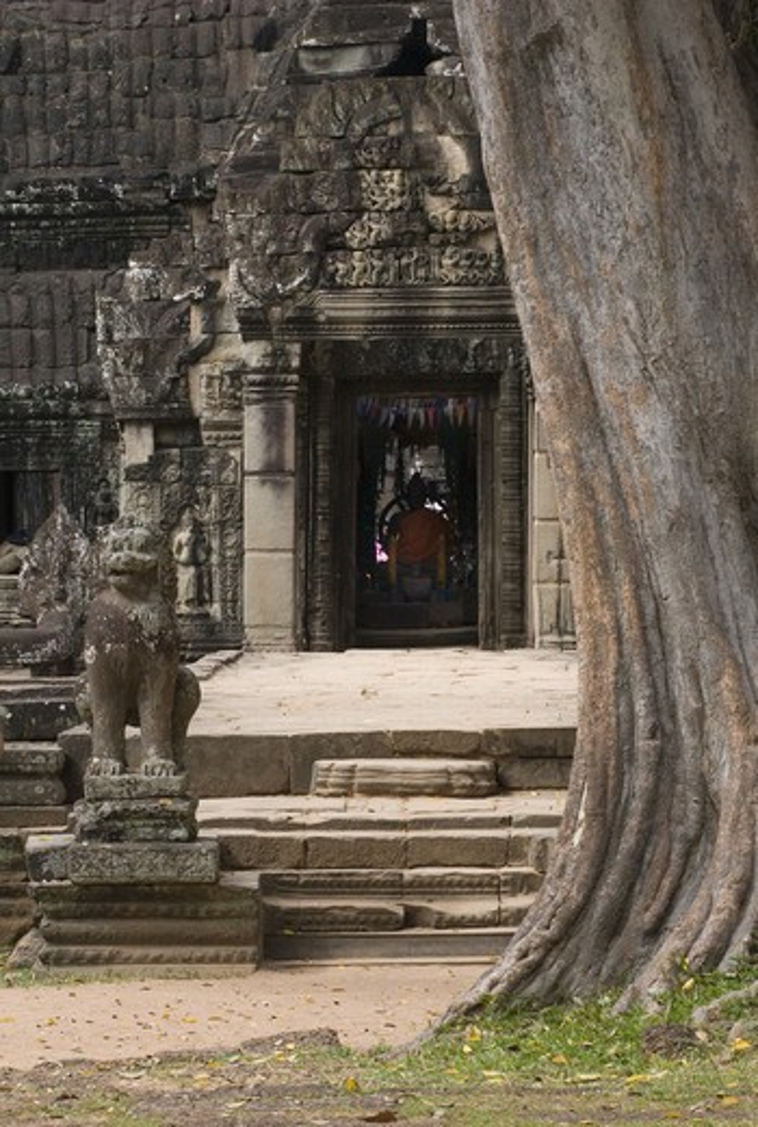 Entry gopura with Buddha statue at the Khmer ruins of Ta Prohm, built by Jayavarman VII, part of Angkor Wat - Siem Reap, Cambodia : Stock Photo
