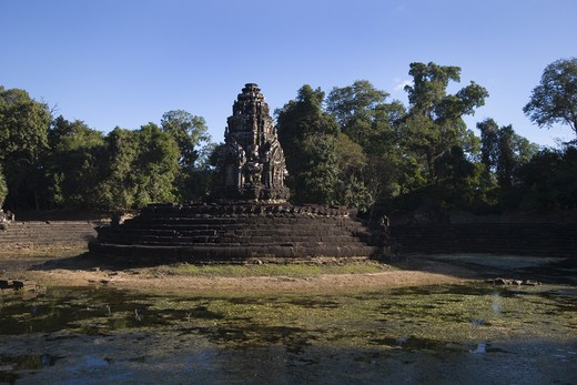 Stock Photo: 1886-51013 Central pond and temple of Neak Pean built by Jayavarman VII in the 12th century - Angkor Wat, Siem Reap, Cambodia