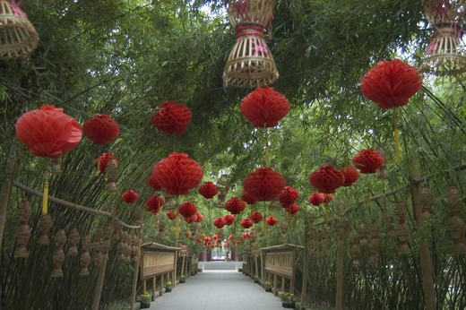 Red paper lanterns above a walkway in the River Viewing Pavilion Park - Sichuan Province, Chengdu, China : Stock Photo