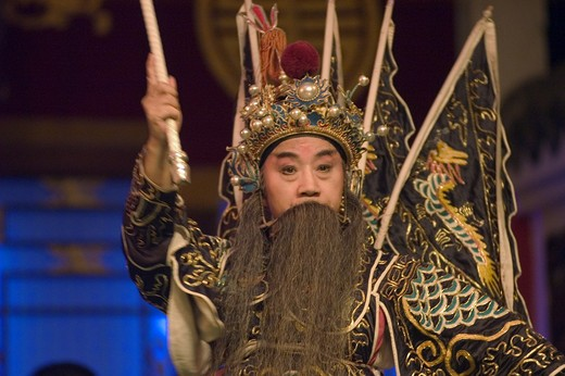 Stock Photo: 1886-51422 Male star in full costume at Chinese Opera - Chengdu, China in Sichuan Province