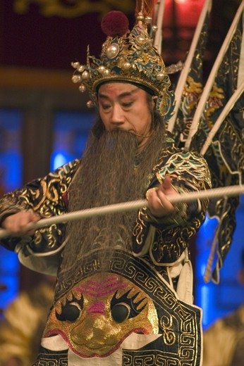 Stock Photo: 1886-51423 Male star in full costume at Chinese Opera - Chengdu, China in Sichuan Province