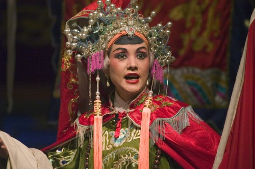 Female star in full costume preforms at the Chinese Opera - Chengdu, China in Sichuan Province : Stock Photo