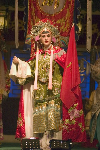 Stock Photo: 1886-51429 Female star sings at the Chinese Opera - Chengdu, China in Sichuan Province