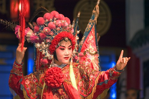 Stock Photo: 1886-51433 Female star sings at the Chinese Opera - Chengdu, China in Sichuan Province