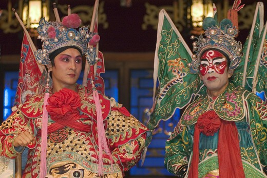 Two male stars in full costume at Chinese Opera - Chengdu, China in Sichuan Province : Stock Photo