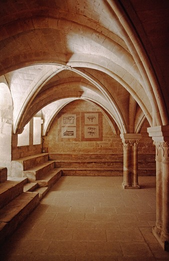 Stock Photo: 1886-51649 Columns & archways support a room in The SENAQUE ABBEY (12th Cent. CISTERCIAN)  - PROVENCE, FRANCE