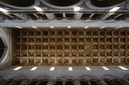 Stock Photo: 1886-52265 Ornate cieling inside of PISA'S 12th Cent. DUOMO (Cathedral) - PISA, ITALY