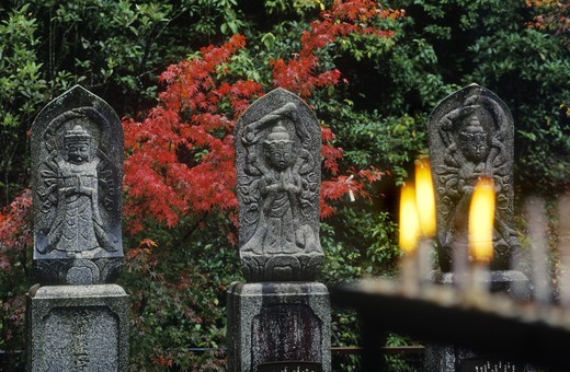 Stock Photo: 1886-52331 BUDDHIST figures outside DAISHOIN TEMPLE, Mimuro Branch of Shingon Buddhism - MIYA JIMA ISLAND, JAPAN