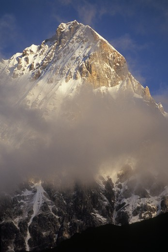 Stock Photo: 1886-52566 Sacred Mount Jampeyang (5,958 M),  Nyinteng (Yading) Nature Reserve, Kham - Sichuan Province, China, (Tibet)