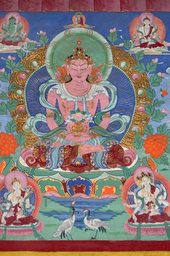 Stock Photo: 1886-52602 A mural of the Tibetan Buddhist deity Amitayus , Tagong  Monastery (Lhagang ) - Kham (E. Tibet), Sichuan Province, China