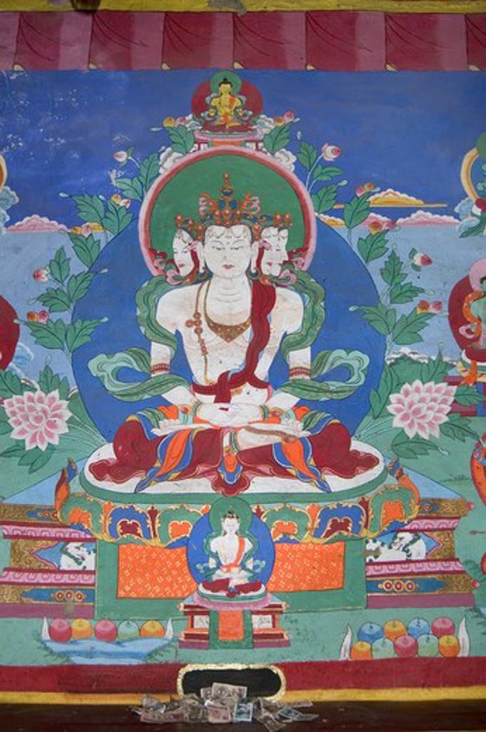 Stock Photo: 1886-52604 Wall mural of 4 headed yogic emanation of Aviloketisvara, Tagong  Monastery (Lhagang Gompa) - Kham (E. Tibet), Sichuan Province, China