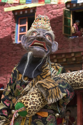 Stock Photo: 1886-52670 Disciplinarian Clown at the Nyingma Cham Dances, Katok Dorjeden Monastery - Kham, (eastern, Tibet), Sichuan Province, China