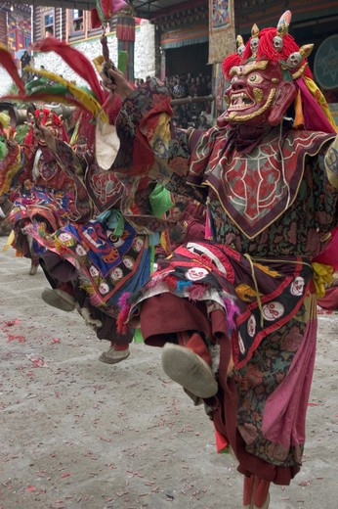 Stock Photo: 1886-52755 Masked dancers tame demons & negativity  at the Monlam Chenpo, Katok Dorjeden Monastery - Kham, (Tibet), Sichuan, China