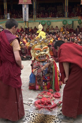 Stock Photo: 1886-52815 Human effigy is cut up to remove negativity at the Monlam Chenpo, Katok Dorjeden Monastery - Kham, (Tibet), Sichuan, China
