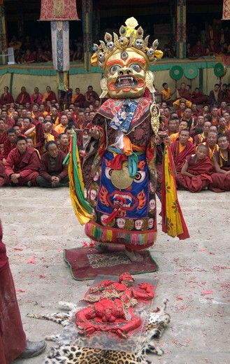 Stock Photo: 1886-52816 Human effigy is cut up to remove negativity at the Monlam Chenpo, Katok Dorjeden Monastery - Kham, (Tibet), Sichuan, China