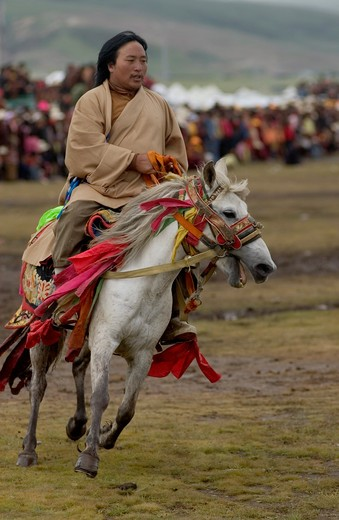 Stock Photo: 1886-52915 A Khampa participates in the dressage competition at the Litang Horse Festival in Kham - Sichuan Province, China, (Tibet)