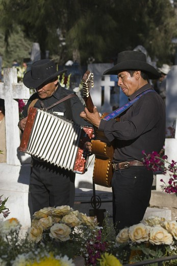 A GUITARIST & ACCORDIONIST plays for the dead at the local cemetery during the DEAD OF THE DEAD - SAN MIGUEL DE ALLENDE, MEXICO : Stock Photo