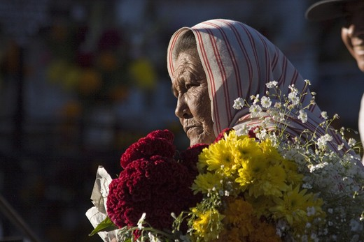 A MEXICAN grandmother brings flowers to the cemetery during the DEAD OF THE DEAD - SAN MIGUEL DE ALLENDE, MEXICO : Stock Photo