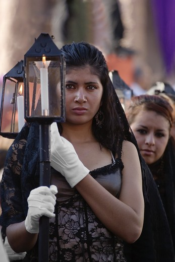 Stock Photo: 1886-53675 MEXICAN WOMAN in MANTILLA with lantern during the EASTER PROCESSION - SAN MIGUEL DE ALLENDE, MEXICO