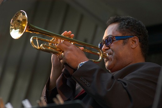 Trumpet player at the MONTEREY JAZZ FESTIVAL - CALIFORNIA : Stock Photo