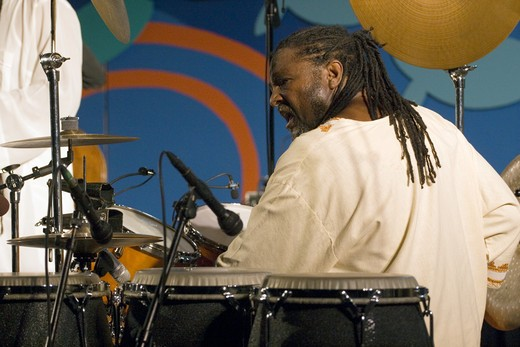 Stock Photo: 1886-54006 BABATUNDE LEA 'Percussion' of the BABATUNDE LEA QUARTET performs at THE MONTEREY JAZZ FESTIVAL
